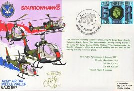 1977 SPARROWHAWKS Army Air Corps GAZELLE HELICOPTER flown stamp cover Middle Wallop refF109 Unsealed with insert. Please see full description and photo for condition report.