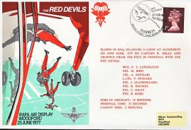 1977 RED DEVILS RAFA Air Display Woodford Islander flown stamp cover refF111 Unsealed with insert. Please see full description and photo for condition report.