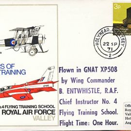 1971 No.4 Flying Training School RAF Valley GNAT XP508 B.Entwhistle flown stamp cover Holyhead Anglesey refF112 Unsealed no insert. Please see full description and photo for condition report.
