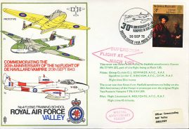 1973 De Havilland Vampire Anniversary Supersonic RAF Valley flown stamp cover refF116 Unsealed no insert. Please see full description and photo for condition report.
