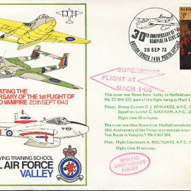 1973 Supersonic Flight Valley to Hatfield RAF flown stamp cover refF117 Unsealed no insert. Label mark on cover. Please see full description and photo for condition report.