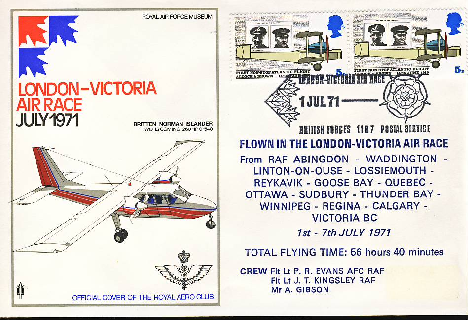 1971 London to Victoria BC Air Race Official flown stamp cover BFPO 1187 refF119 Unsealed no insert. Label mark on cover. Please see full description and photo for condition report.