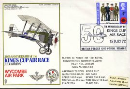1972 Kings Cup Air Race Neil Jensen RAF flown stamp cover BFPO 1289 refF120 Unsealed no insert. Label mark on cover. Please see full description and photo for condition report.