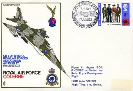 1972 City of Bristol RAF Colerne Warton F-ZWRC flown stamp cover Rolls Royce Development Flight refF121 Unsealed no insert. Label mark on cover. Please see full description and photo for condition report.