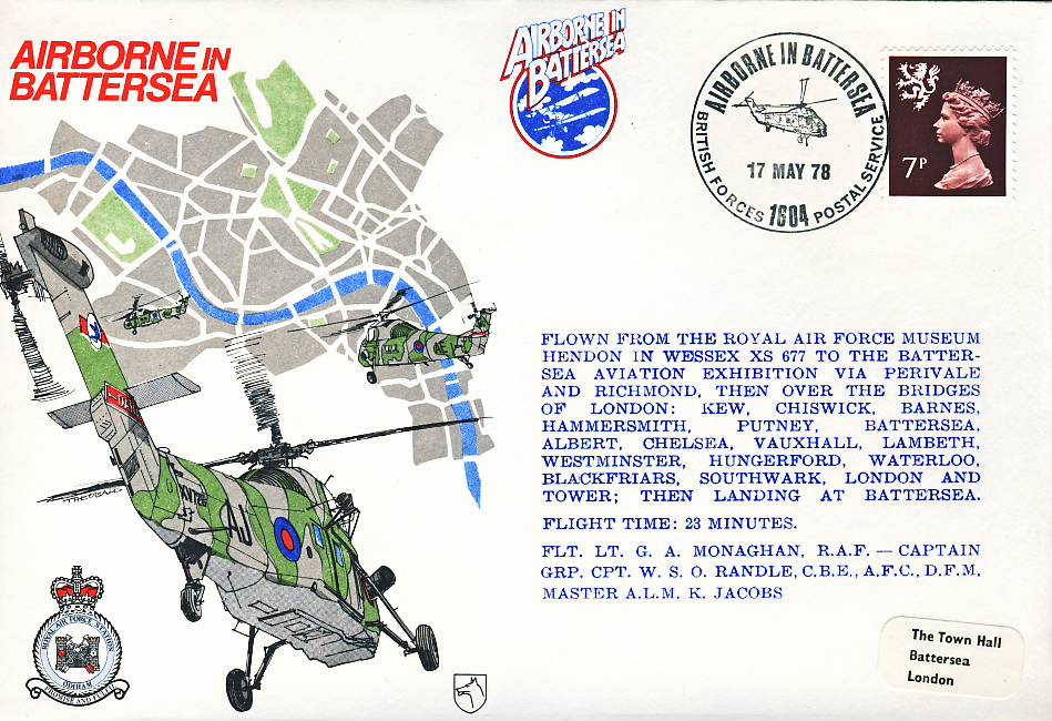1978 Airborne in Battersea RAF flown stamp cover BFPO 1604 refF122 Unsealed with insert. Please see full description and photo for condition report.