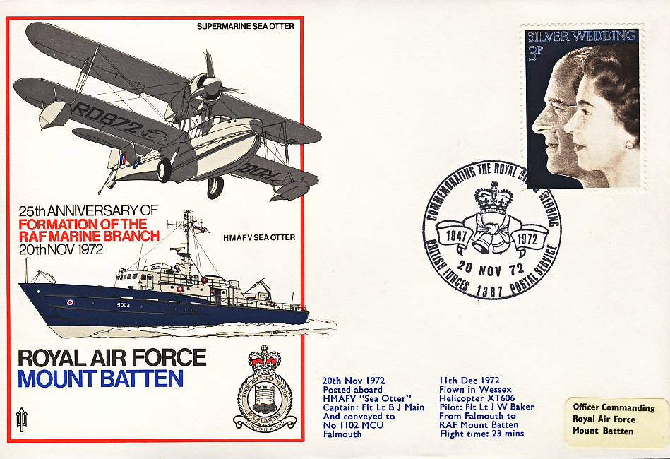 1972 Mount Batten Silver Wedding RAF flown stamp cover BFPO 1387 refF125 Unsealed with insert. Please see full description and photo for condition report.