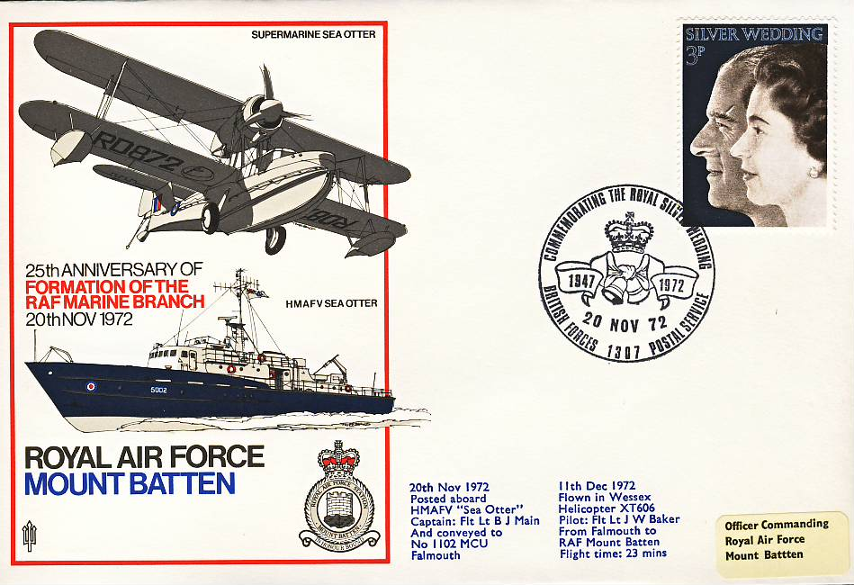 1972 Royal Silver Wedding RAF Marine Branch Sea Otter WESSEX HELICOPTER flown stamp cover BFPO 1307 refF126 Unsealed with insert. Please see full description and photo for condition report.