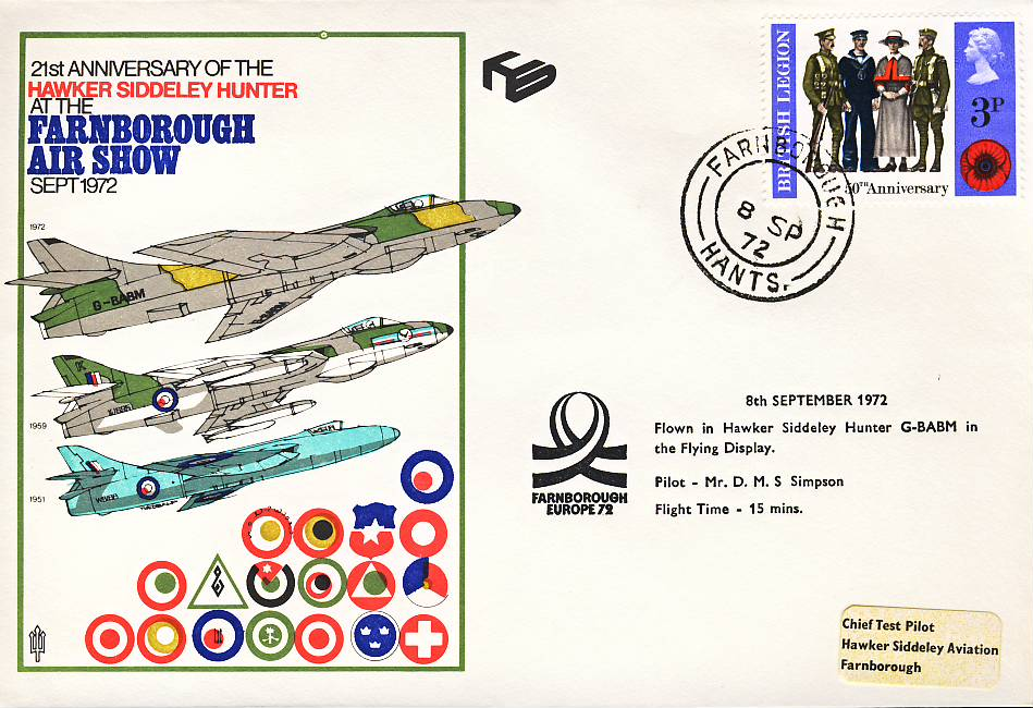 1972 Farnborough Air Show RAF flown stamp cover Hawker Siddeley Hunter G-BABM refF127 Unsealed with insert. Please see full description and photo for condition report.