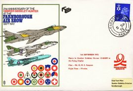 1972 Hawker Siddeley Hunter FARNBOROUGH Air Show RAF flown stamp cover refF128 Unsealed no insert. Please see full description and photo for condition report.