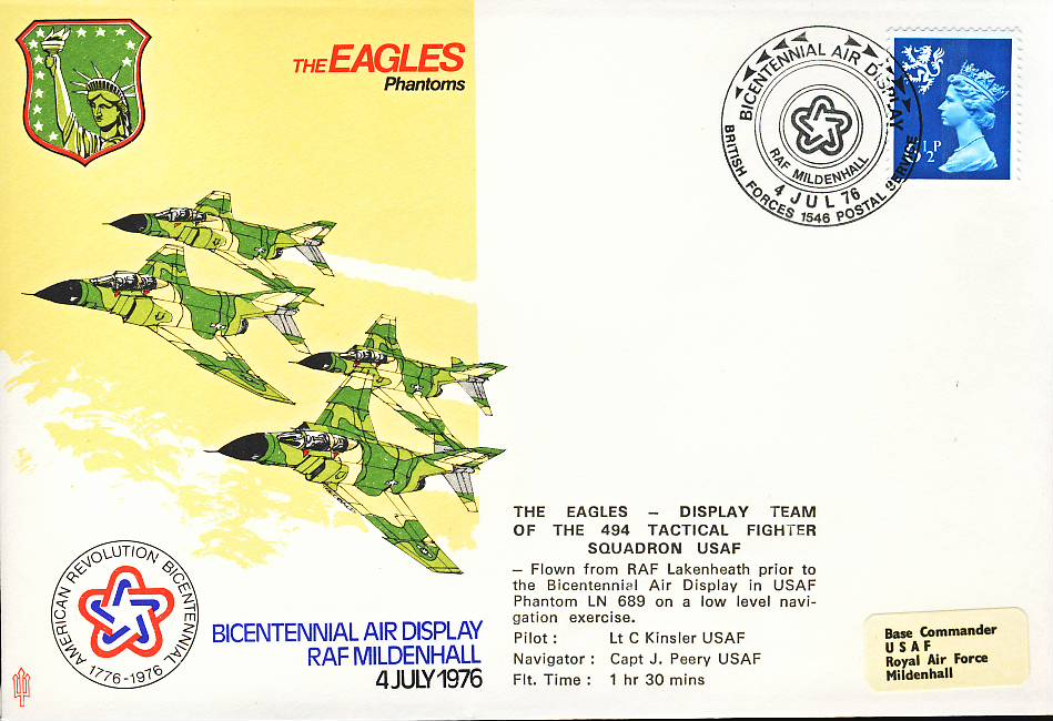 1976 EAGLES Phantoms RAF flown stamp cover Mildenhall BFPO 1546 refF129 Unsealed with insert. Please see full description and photo for condition report.