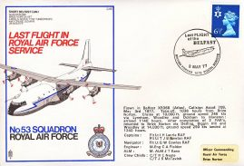1977 Last Flight of the BELFAST RAF No.53 flown stamp cover BFPO refF155 Unsealed with insert.