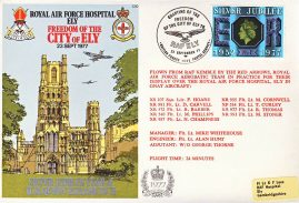1977 Freedom of the City of ELY Hospital RAF RED ARROWS flown stamp cover BFPO 1585 refF1160 Unsealed with insert.