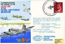 1978 Cuatro Vientos Euroworld Airlines Cazeaux RAF Biggin Hill flown ESPANA Correos stamp cover BFPO refF162 Unsealed with insert.