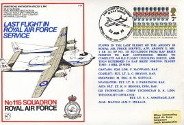 Last flight of the Argosy 1978 RAF No115 Squadron flown stamp cover BFPO 1602 refF167 Unsealed with insert.