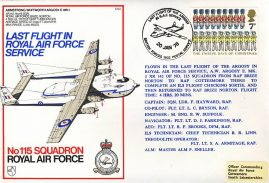 1978 ARGOSY Last Flight RAF service flown stamp cover BFPO No115 Squadron refF168 Unsealed with insert.