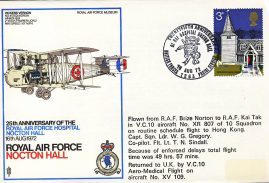 1972 NOCTON HALL 25th Anniversary VC10 RAF Kai Tak Hong Kong flown stamp cover BFPO 1263 refF174 Unsealed with insert