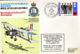 No605 County of Warwick Squadron 1973 RAF flown stamp cover Birmingham BFPO refF177 Unsealed with insert.
