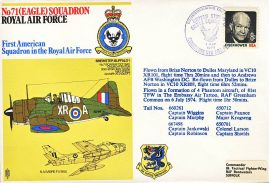 1974 VC10 XR101 RAF flown Eisenhower USA stamp cover Brize Norton To Dulles Maryland To Andrews AFB WASHINGTON DC refF178 Unsealed no insert.