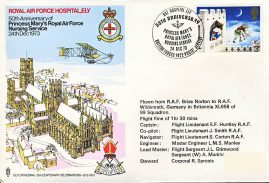 RAF Nursing Service ELY HOSPITAL 1973 Brize Norton Wildenrath Gemany flown stamp cover BFPO refF1 Unsealed no insert. Address label mark on cover.