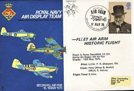 Winston Churchill stamp cover 1975 Biggin Hill Air Fair Royaal Navy Display Team BFPO 1503 Fleet Air Arm Historic Flight refF191 Unsealed with insert.