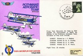 1974 Aerobatic Team Pitts S.2A Rothmans RAF flown stamp cover BFPO 1478 refF192 Unsealed with insert.