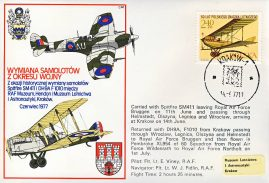 1977 Bruggen to Krakow RAF Spitfire SM411 flown stamp cover refF193 Unsealed with insert.
