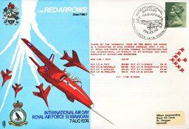 1974 International Air Day St Mawgan RED ARROWS RAF flown stamp cover BFPO 1476 refF194 Unsealed with insert.