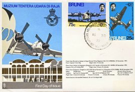 Muzium Tentera Udara Di Raja 1972 RAF flown BRUNEI stamps cover First Day of Issue refF195 Unsealed no insert. Address label mark on cover.