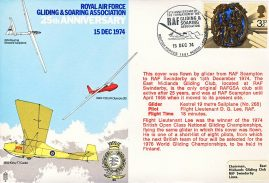 RAF Gliding & Soaring Asscociation 1974 flown stamp cover BFPO 1481 RAF Scampton to RAF Swinderby refF196 Unsealed with insert.