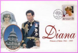 Diana Princess of Wales 1961 - 1997 collectors cover. Very good condition.