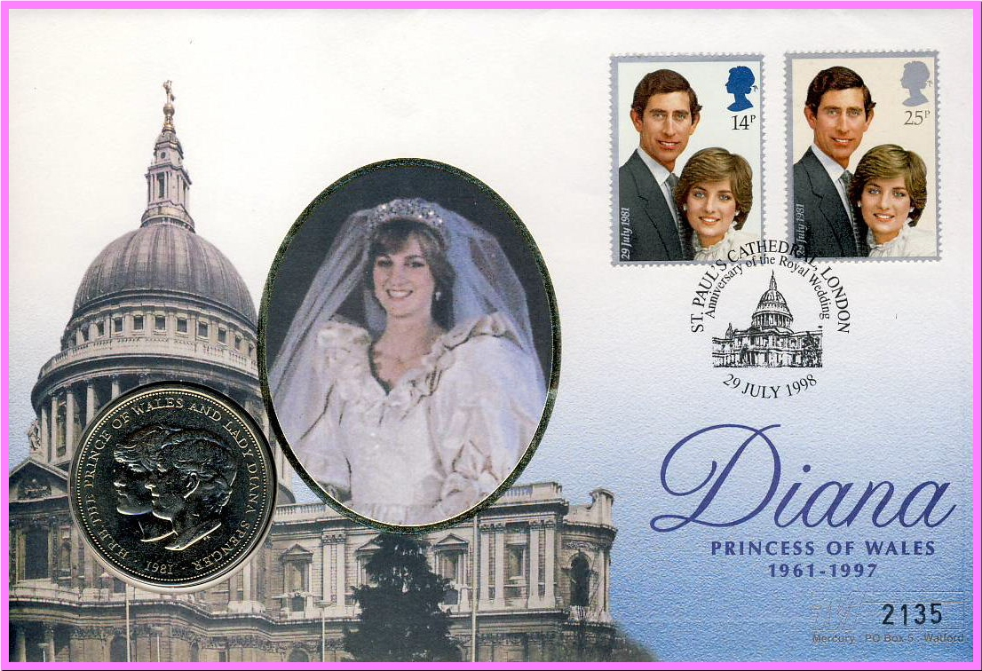 The Royal Wedding of Prince Charles and Diana Princess of Wales 1981 Commemorative Coin in 1998 St Paul's Cathedral stamp cover. Mercury numbered collectors series. Very good condition. Would make an ideal gift.