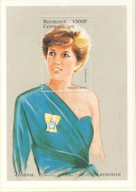 Princess Diana CENTRAL AFRICAN REPUBLIC 1500f MS stamp sheet refDA134 Diana Princess of Wales 1961-1997 Westminster collectors series. Unused. Ideal Gift. Very good condition