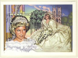 Princess Diana Wedding Dress MONGOLIA 1000F MS stamp sheet refDA140 Diana Princess of Wales 1961-1997 Westminster collectors series. Unused. Ideal Gift. Very good condition