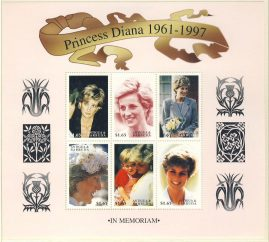 Princess Diana 6 x $1.65 MS Antiqua Barbuda stamp sheet in memoriam refDA145 Diana Princess of Wales 1961-1997 Westminster collectors series. Unused. Ideal Gift. Very good condition