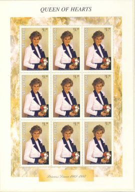 Princess Diana QUEEN OF HEARTS St Lucia MS 9 x $1 stamp sheet refDA Diana Princess of Wales 1961-1997 Westminster collectors series. Unused. Ideal Gift. Very good condition