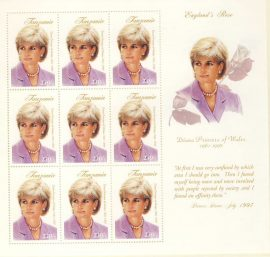 Princess Diana Tanzania 9x250/- MS stamp sheet 1997 England's Rose refDA147 Diana Princess of Wales 1961-1997 Westminster collectors series. Unused. Ideal Gift. Very good condition