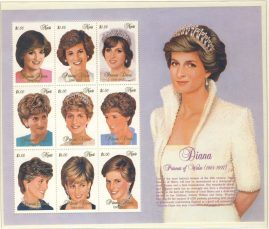 Princess Diana NEVIS 9x$1.00 MS stamp sheet refDA150 Diana Princess of Wales 1961-1997 Westminster collectors series. Unused. Ideal Gift. Very good condition