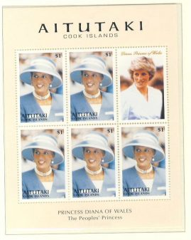 Princess Diana AITUTAKI Cook Islands 5x$1 sheetlet The People's Princess refDA Diana Princess of Wales 1961-1997 Westminster collectors series. Unused. Ideal Gift. Very good condition