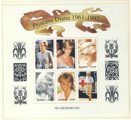 Princess Diana in Memoriam Zambia 6 x K500 stamp sheetlet 1961-1997 refDA152 Diana Princess of Wales 1961-1997 Westminster collectors series. Unused. Ideal Gift. Very good condition