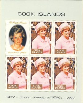 Princess Diana Cook Islands 5v sheetlet stamps 1961-1997 refDA153 Diana Princess of Wales 1961-1997 Westminster collectors series. Unused. Ideal Gift. Very good condition