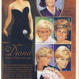 Princess Diana Queen Mother St Vincent Grenadines 4x$2.00 MS stamp sheet refDA156 Diana Princess of Wales 1961-1997 Westminster collectors series. Unused. Ideal Gift. Very good condition