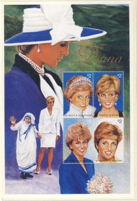 Princess Diana Mother Teresa St Vincent & Granadines 4x$2 stamp sheet refDA157 Diana Princess of Wales 1961-1997 Westminster collectors series. Unused. Ideal Gift. Very good condition