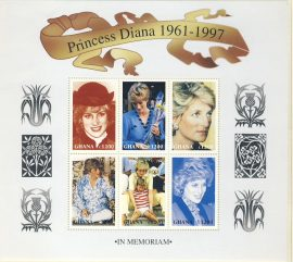 Princess Diana GHANA 6x c1200 MS stamp sheet 1961-1997 refDA158 Diana Princess of Wales 1961-1997 Westminster collectors series. Unused. Ideal Gift. Very good condition