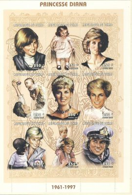 Princesse Diana Republic of Tchad 9x250f MS stamp sheet 1961-1997refDA159 Diana Princess of Wales 1961-1997 Westminster collectors series. Unused. Ideal Gift. Very good condition