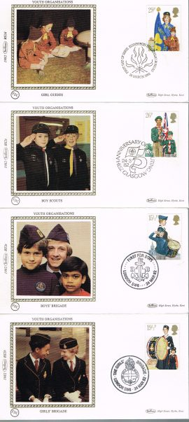 4 unsealed stamp covers with insert cards. Ideal Gift. Very good condition