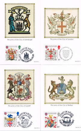Limited Edition of 3750 - 4 postcards with various postmarks and coats of arms for City of London