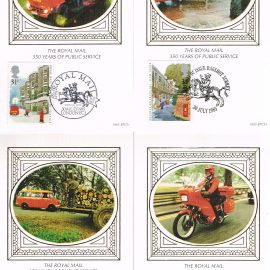 Set of 4 postcards Royal Mail 350 years of Public Service - various postmarks. London