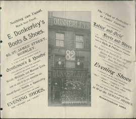 Vintage Burnley ADVERTS Dunkerleys Boots & Shoes MRS BELL & SON Silk Merchers Linen Drapers FURRIERS Hatters Hosiers and Glovers refS4 Travelling Requisites 28 - 30 Manchester Road BURNLEY AND 82 St James Street. Great social and commercial history of Burnley Measures approx 28cm x 32cm  1 page (2 pictures - front and reverse). May be cuttings from full size newspapers. No dates. Please read the full description and see photo.