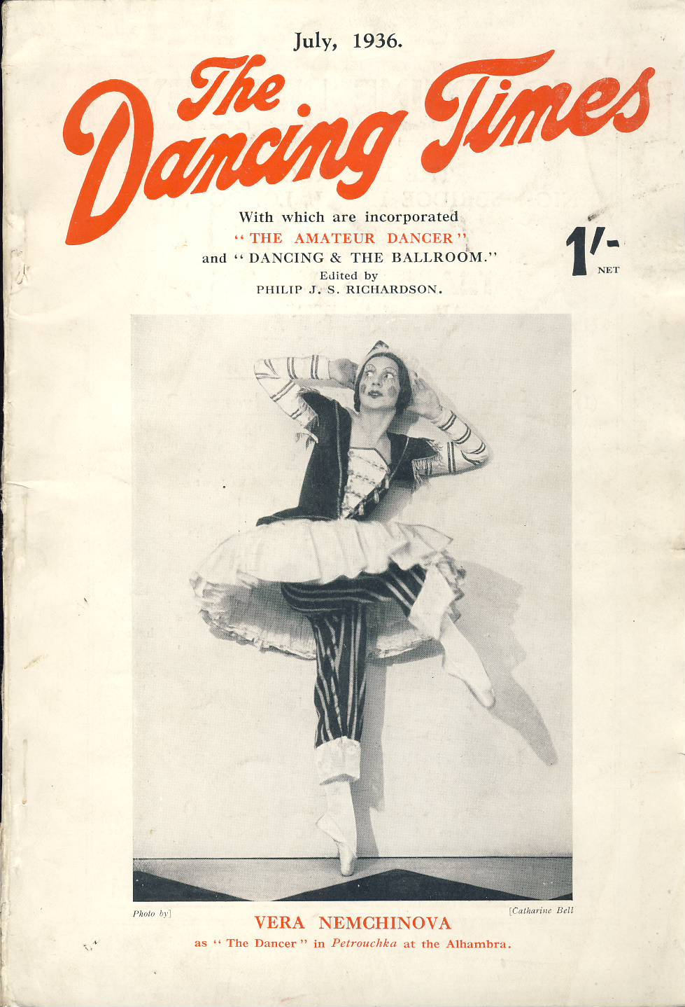 July 1936 The Dancing Times magazine VERA NEMCHINOVA  Jura Lazovsky and Marian Ladre Danses Slaves et Tsiganes photo on inside front cover. A review of dancing in its many phases - containing articles and photos. Some vintage adverts for dancing schools. This is a vintage magazine. Text and photos clean and bright inside. The covers are badly marked with scuffs and tears to spines. Staples rusting so cover coming away from text. Please read the full description and see photo.