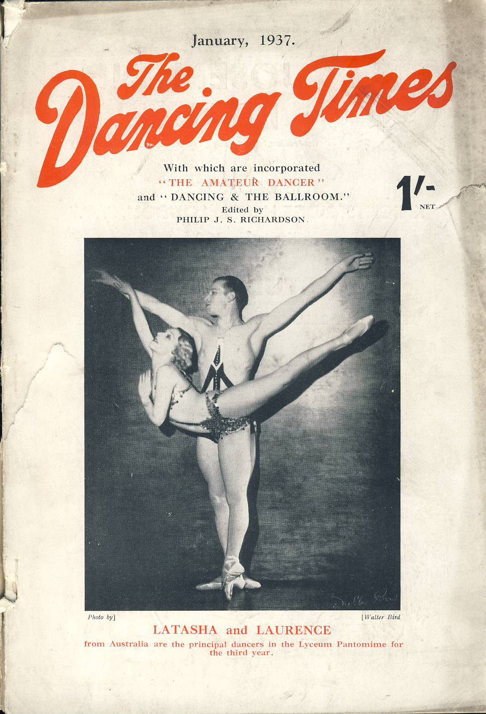 January 1937 The Dancing Times magazine LATASHA AND LAURENCE from Australia Alicia Markova and Anton Dolin Mother Goose Pantomime London Hippodrome photo on inside front cover. A review of dancing in its many phases - containing articles and photos. Some vintage adverts for dancing schools. This is a vintage magazine. Text and photos clean and bright inside. The covers are badly marked with scuffs and tears to spines. Staples rusting so cover coming away from text. Please read the full description and see photo.